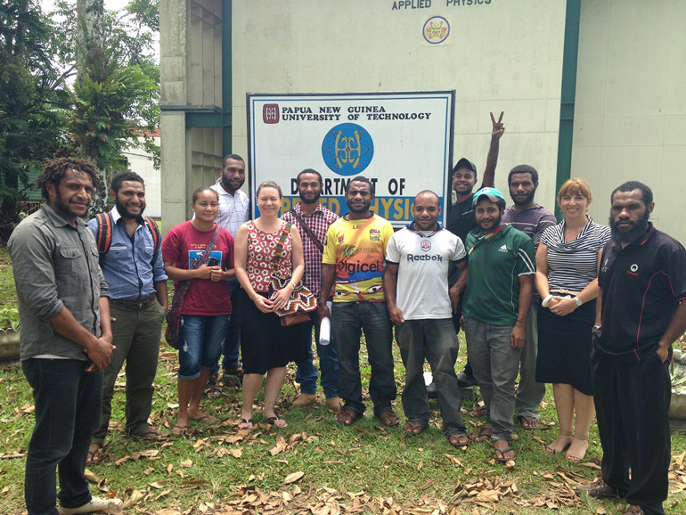 Cath Beaufort (second from right) with Unitech students.